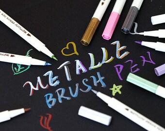 10 Metallic Markers Multi Colors In Pack Metal Marker Pen Etsy