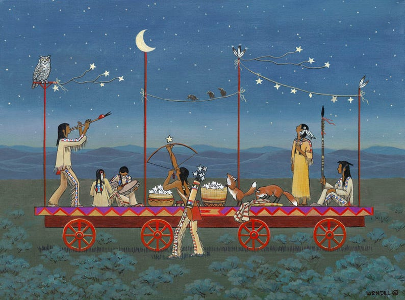 The Night they Hung the Moon and Stars Giclée Print  Western image 0