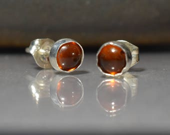 Pair Amber Sterling Silver post Earrings with Baltic amber cabochon, 5 mm bead ,Amber stud earrings Lightweight