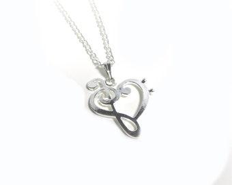 .925 Sterling Silver TREBLE /& BASS CLEF HEART CHARM Pendant NEW Music 925 MC35