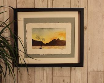 Original watercolour painting, sunset, mountain, Snowdonia lake padarn, mountain Art, outdoors, adventure