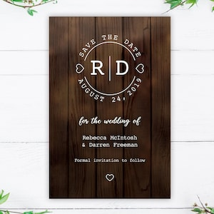 Rustic Save the Date Template with Heart Monogram Logo Rustic Wedding Save the Date Printable Save the Date Boho Hold the Date Card