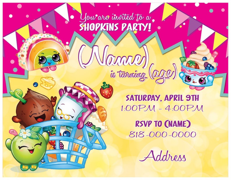 SHOPKINS Personalized Birthday Invitation