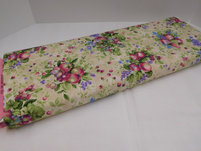Blue Pink 411 Flowering Orchard Fabric; Pastel Fruits Fabric; Clusters of Fruit; Fabric By the Yard; Mint Lavender