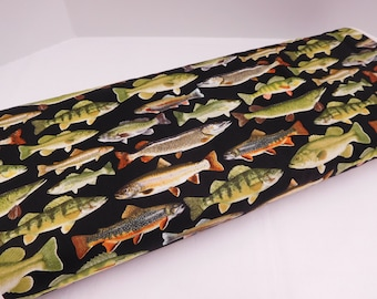 1010 Fresh Water Fish on Black Fabric; Fabric By the Yard; Fat Quarters to Full Yards;