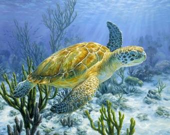 887 Sea Turtle Fabric Panel; Ancient Mariner Digital Print Fabric by David Textiles