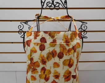 697 Golden Leaves Apron; Thanksgiving Apron; Autumn Apron; Kitchen Apron; Ladies Apron; Fall Leaves Apron; Bib and Side Pockets