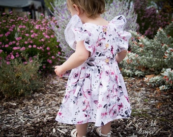 Adalyn floral Pinafore Dress with Romper underneath size 1 (Already made)