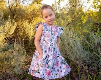 Rose flutter pinafore dress