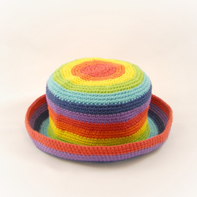 7f3bebc3ae RAINBOW Hat Handmade 100% Cotton Crochet Spring Summer Floppy