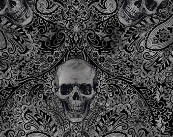 0.50 m, Filigree Skulls, Skull, Skulls, Black, Grey, Skull, Fabric, Cotton Fabric, Fabric