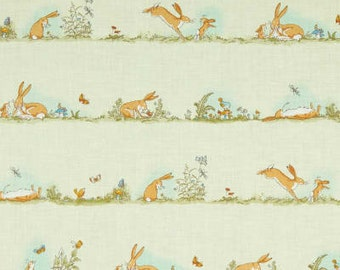 0.42 m, hare, hare, bunny, flowers, flowers, butterflies, birds, mint, bright green, pastel, patchwork fabric, cotton fabric, fabric, ouilting