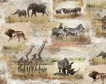 0.50 m, elephants, giraffes, lion, rhinos, zebras, buffalo, savannah, Africa, digital printing, cotton fabric, patchwork fabric, fabric