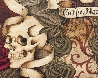 0.50 m, Skulls, CARPE NOCTEM, roses, beige, skull fabric, fabric, cotton