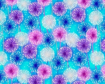 0.43 m, GLOWS IN THE DARK, dandelions, dandelions, let your light shine, dancing dandelions umbrellas, cotton fabric, fabric