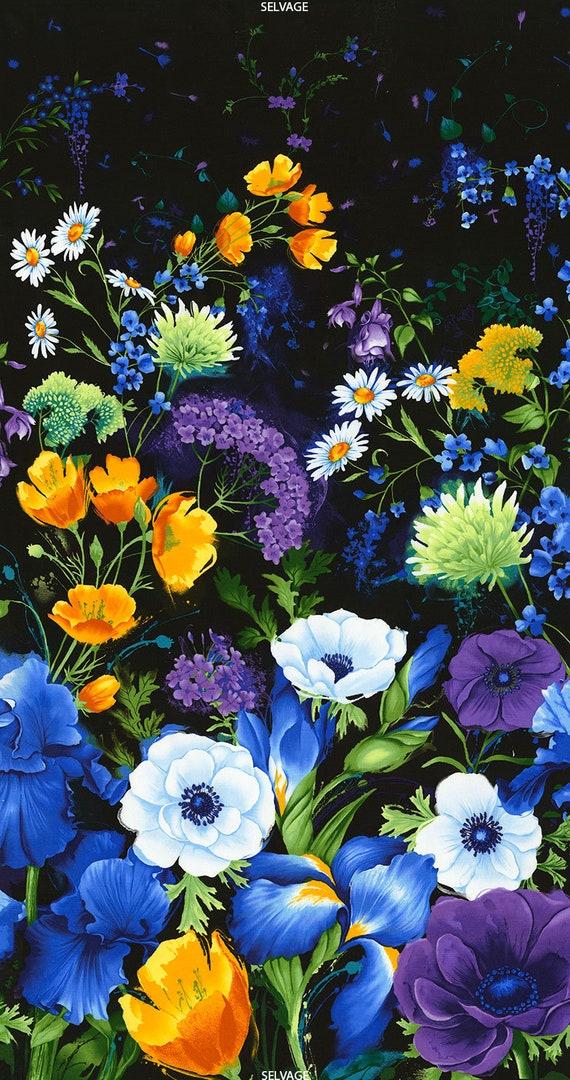 Panel Blumen Blüten Margerite Hortensie Baumwolle Baumwollstoff Patchworkstoff Stoff