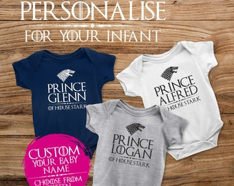 Personnalisée Game of Thrones House STARK Babygrow Baby Grow toutes tailles ^