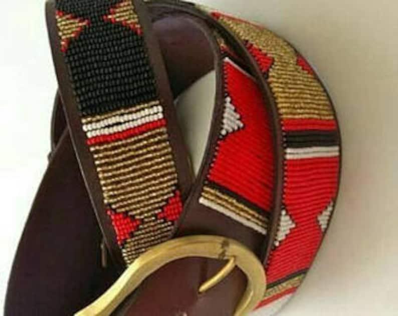Handmade belt Leather belt Gift for him Boho belt Beaded belt Brass buckle belt Leather  belt African belt, Maasai belt