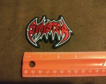 """Pizza Death Heavy Metal Iron On Sew On Red Embroidered Patch 3.5/""""x3/"""""""
