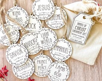 Names of Christ Christmas Ornament Set - Christian Advent Tradition Christmas Easter Ornament Set