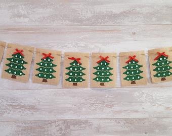 Holiday Banner, Burlap Christmas Banner, Christmas Tree Banners, Christmas Decor, Holiday Decor, Xmas Banners, Decorated Trees Banner
