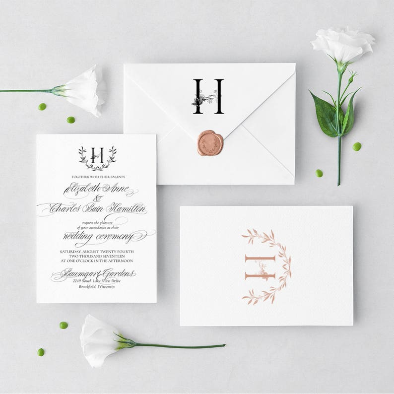 Floral Monogram customize in ANY COLOR! Elowen Suite Hand drawn Floral Calligraphy Wedding Invitation Suite