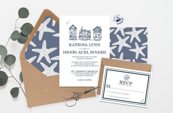 Navy Nautical Wedding Invitation Suite Hand drawn  fe483b53a0c3