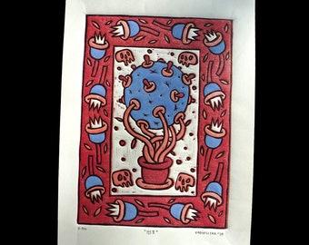 Crown II, 3 colored linocut H.P.M.