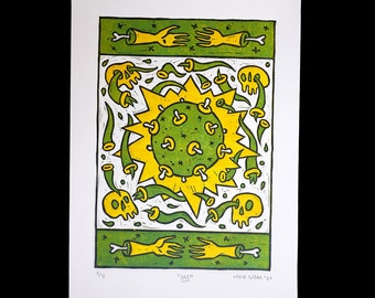 Crown, 3 colored linocut