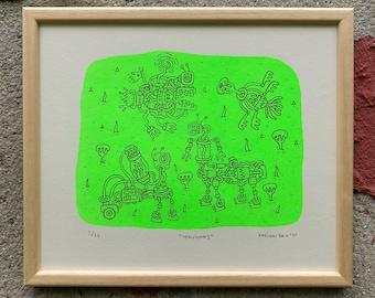 Venusians, 2 colored silkscreen print