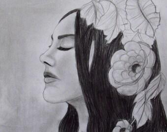 Lady Gaga Crayon Réaliste Portrait Oeuvre Noir Blanc Art