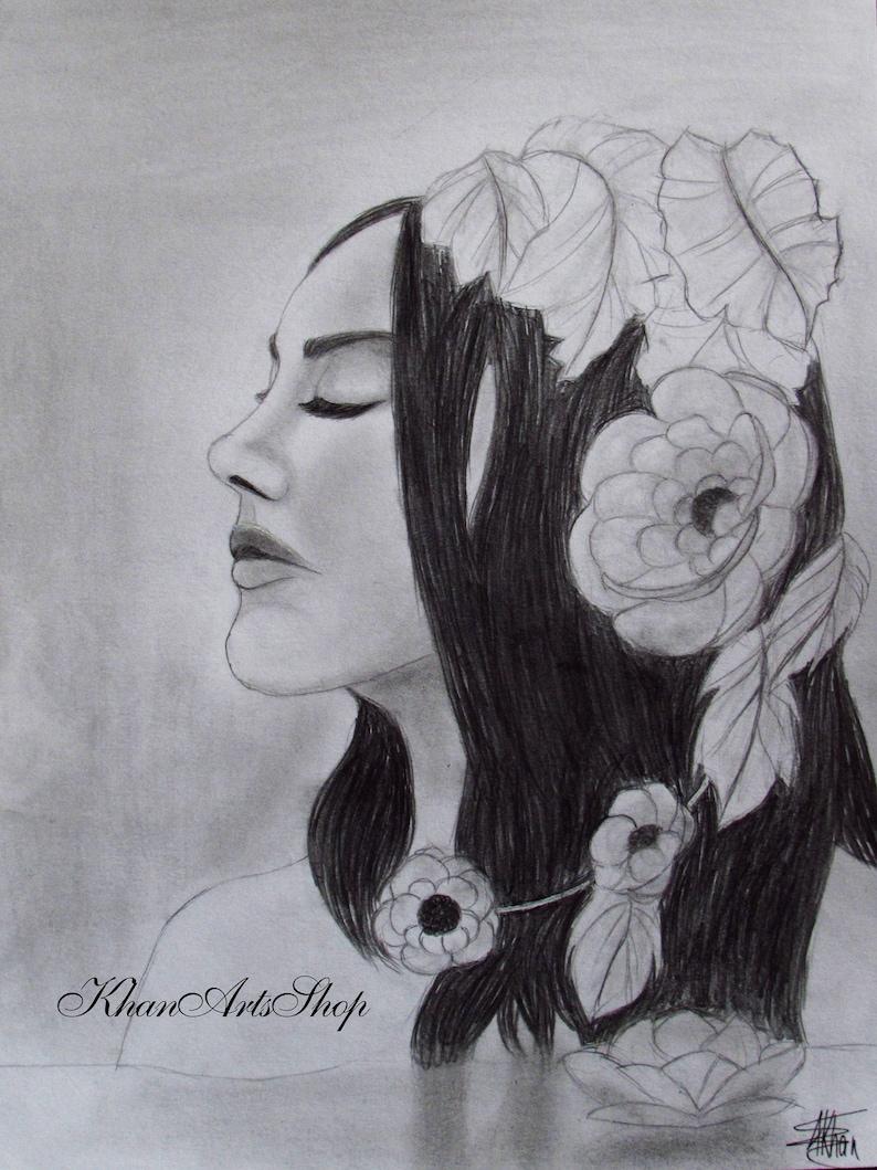 Girl in a lake graphite pencil drawing fine art realistic art blackwhite art artwork graphite art portrait girl portrait flowers water