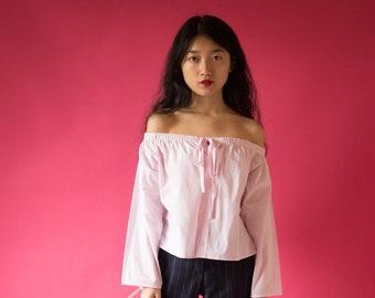Off Shoulder Light Pink Shirt - One Size