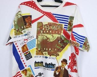 5e3c91aa330d Vintage Charlie Chaplin Home Alone 2 Shirt All Over Printed Short Sleeve  Crewneck Multicolour
