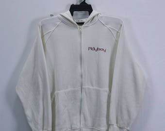 6f0f9b1a Vintage Playboy Sweater Hoodie Small embroidery Logo spellout Full Zip  White Colour