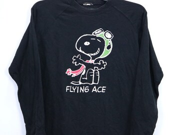 2c775f79 Vintage Peanuts Snoopy Flying Ace Shirt Cartoon Big Spellout Logo Long  Sleeve Streetwear Hip Hop Medium Size Black Color