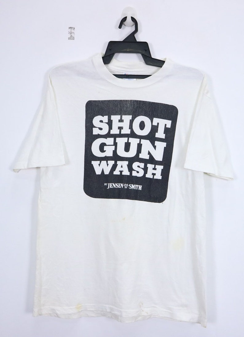 2c64d5633a4f0 Vintage Shot Gun Wash by Hanes Shirt Big Spellout Logo Short Sleeve  Crewneck Streetwear Large Size Made in USA White Color