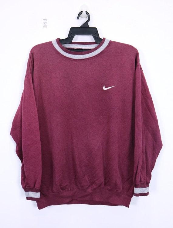 Vintage NIKE Sweatshirt Long Sleeve Small logo Embroidery Crewneck  sportswear