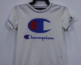 Vintage Champion T-Shirt Short Sleeve Big Logo Spellout White Colour size 150