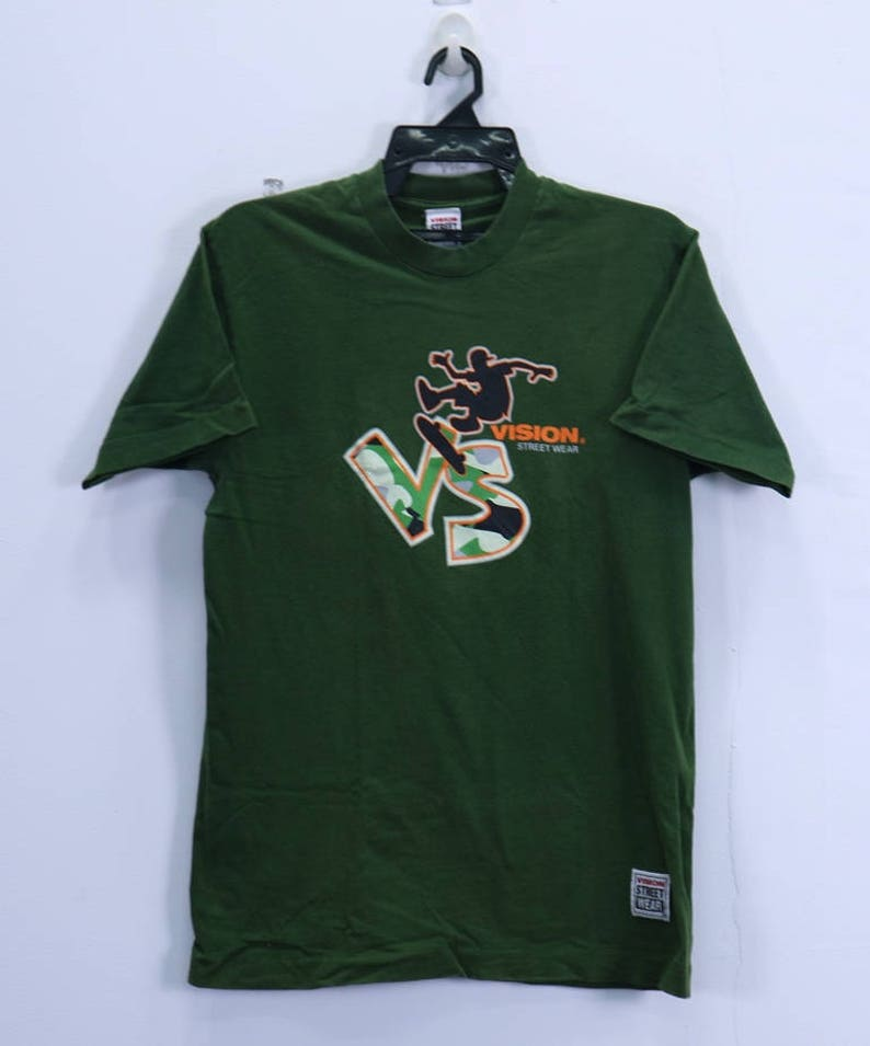 a2736d6e212cb Vintage Vision Street Wear T Shirt Short Sleeve Crewneck Skate Hiphop  Medium size Green Colour