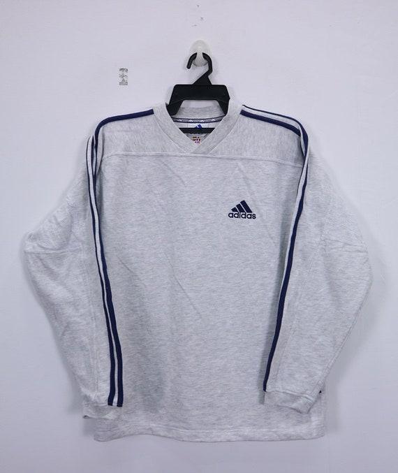 e26458110e914 Vintage Adidas sweatshirt 3 Stripes Small logo embroidery spellout  sportswear Small size