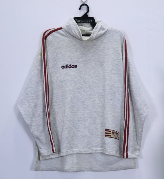 Details about Adidas Pullover Hoodie Grey Long Sleeve Sewn On Spellout Size Medium M Adult
