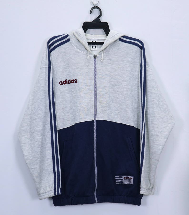 087096e3f7cad Vintage Adidas sweater hoodies 3 stripes small Embroidery logo spellout  Made In Japan Large Size