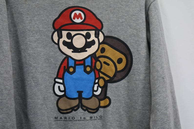 56cf7a728 Vintage Mario To Milo by bathing ape Sweatshirt Big Logo | Etsy