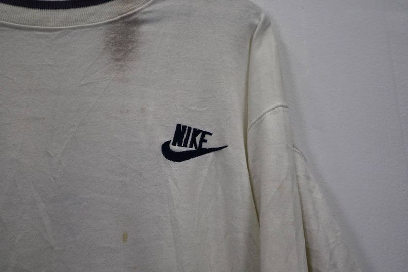 48b87453cc767 Vintage Nike Spell Out Logo Nike Crewneck Streetwear Jumper Sweatshirt  White Colour Cotton Sweater