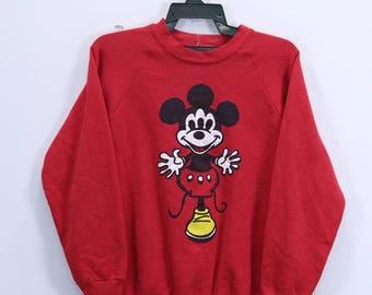 Vintage Mickey Mouse Sweatshirt Big Logo Disneyland crew neck Medium size Made in USA