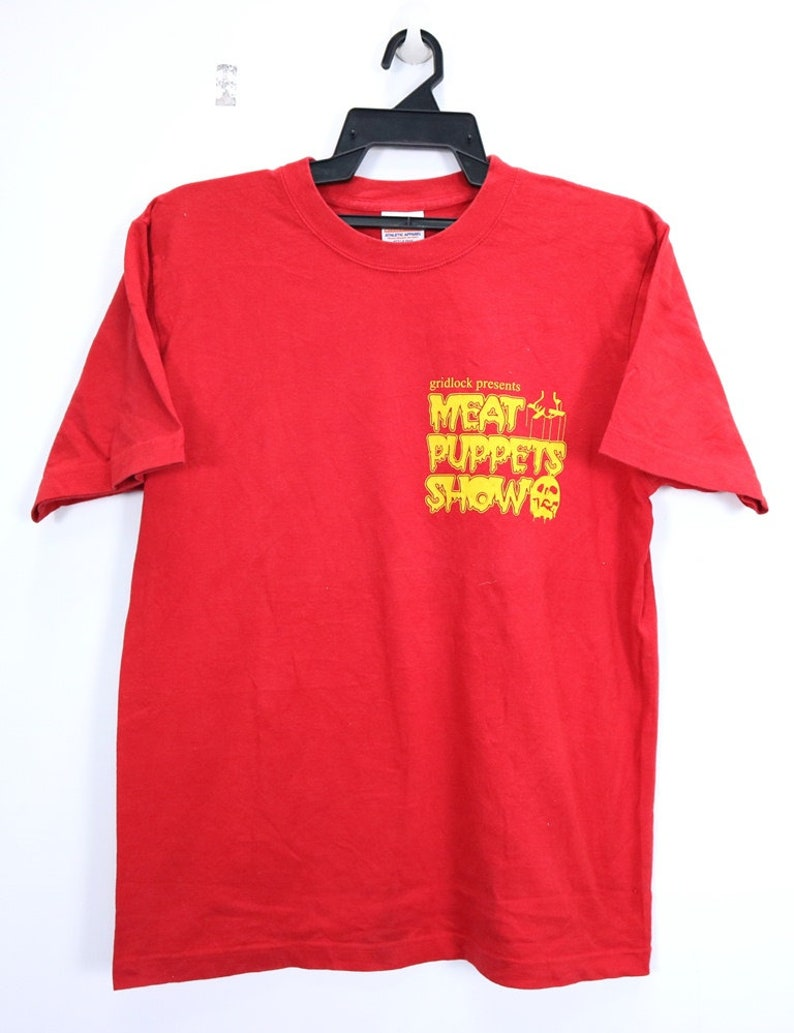 558e9983200d8 Vintage Meat Puppets by United Athle Shirt Big Spellout Short Sleeve  Crewneck Streetwear Hip Hop Red Color Medium Size