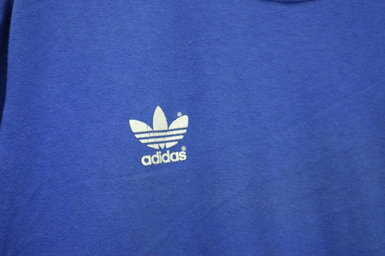 c27cb1ca5176f Vintage Adidas Three Stripes Small Embroidery Logo SpellOut T-Shirt Hip Hop  Streetwear Made In Greece Blue Colour