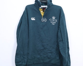 Vintage Canterbury of New Zealand CNZ Club Rugby Sweatshirt with Colar Embroidery Logo 3L Size