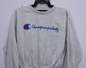 Vintage Champion Products USA Sweatshirt Long Sleeve Big Logo Spell Out Sweater